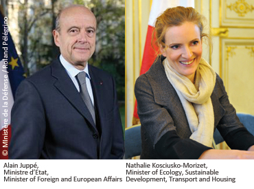 Alain Juppé, Ministre d'Etat, Minister of Foreign and European Affairs and Natalie Kosciusko-Morizet, Minister of Ecologie, Sustainable Development, Transport and Housing